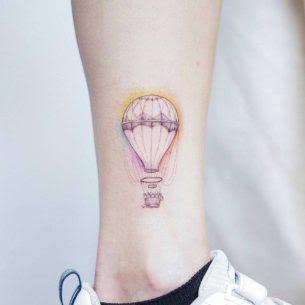 Hot Air Balloon Tattoo On Ankle Best Tattoo Ideas Gallery