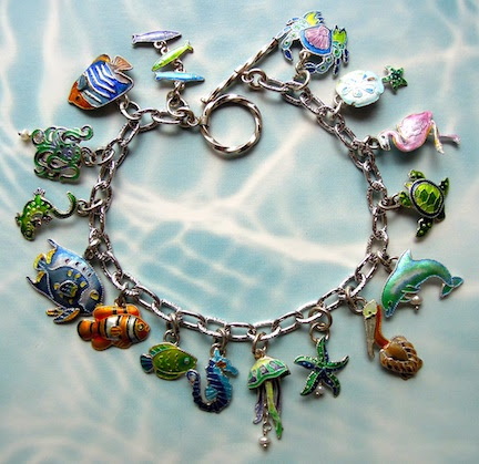 Zarah Enamel Art Jewelry - UNDER THE SEA Charm Bracelet - Sterling Silver