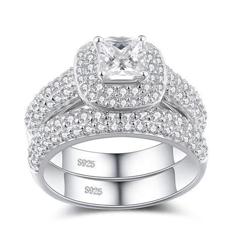 Princess Cut White Sapphire Sterling Silver Women's Bridal