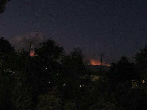 Same vantage point at night - Fire glow