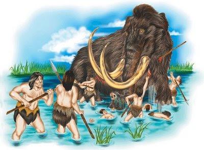 mamut atacado por hombres de las cavernas