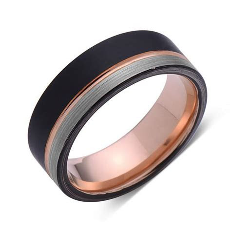 rose gold tungsten wedding band black  gray brushed