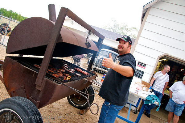 The final stop of the Garage Krawl was at Jack's place. Here we see Mongo (Jeff) manning the grill. Usually Jeff puts out fires but he kept this one nicely under control. Thanks Mongo!