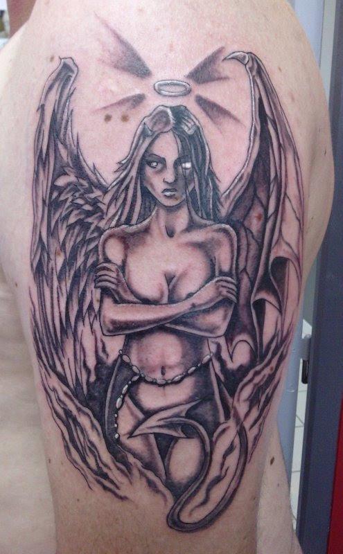 Devil Girl Tattoo On Left Half Sleeve