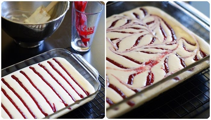 raspberry swirl cheesecake bars with oreo cookie crust | bake at 350