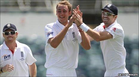 Stuart Broad celebrates a wicket