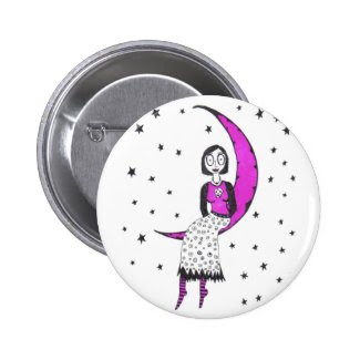 Creepy over the moon and stars pinback buttons