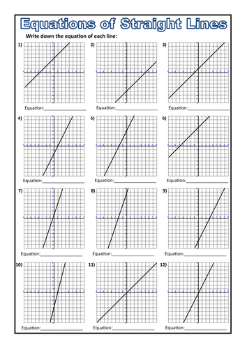 Equations from a Straight Line Worksheet by prof689  Teaching Resources  Tes