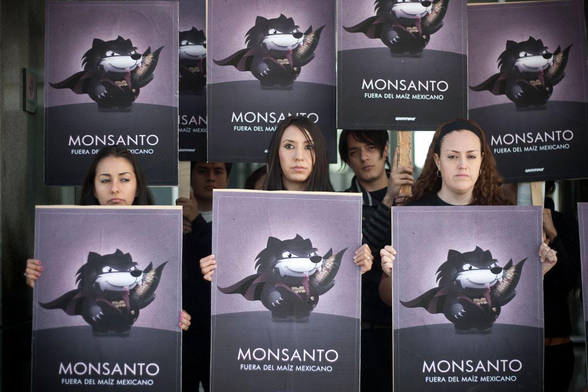 Greenpeace protesta contra Monsanto en la ciudad de México. Foto: Xinhua / Rodrigo Oropeza