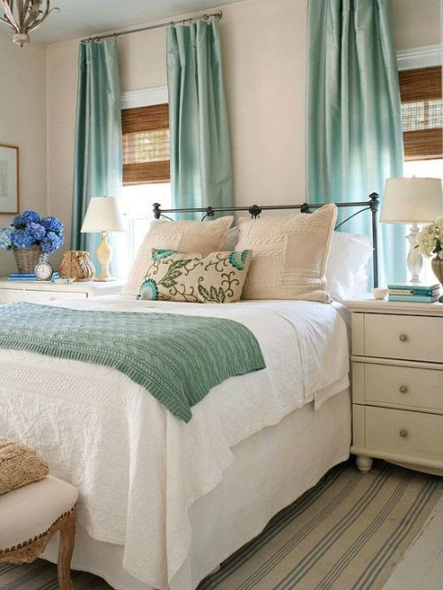 White and cream together with accents of aqua