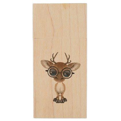 Nerdy Baby Deer Wearing Glasses Wood USB Flash Drive