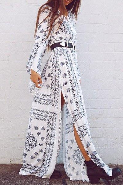 العرقية طباعة الخامس الرقبة كم طويل فستان ماكسي