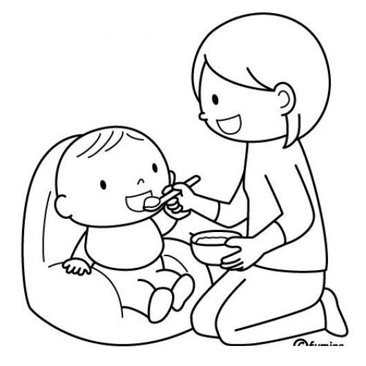 Compotas Y Cereales De Bebe Dibujo De Mama Alimentando A Su Bebe