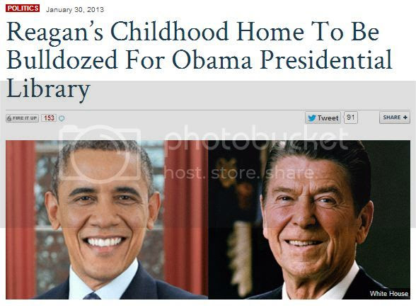 Screenshot of Fox Nation headline: Reagan's Childhood Home To Be Bulldozed For Obama Presidential Library