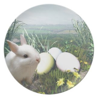 Easter Bunny and Easter Eggs Party Plate