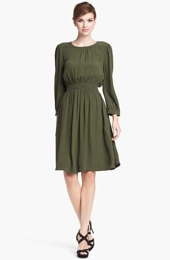 Loving the shape of this dress and that olive color!