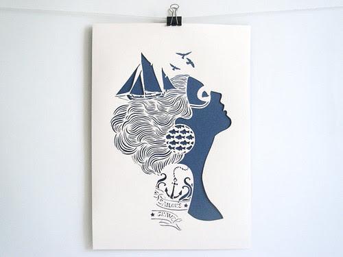 Sirene-Papercutting