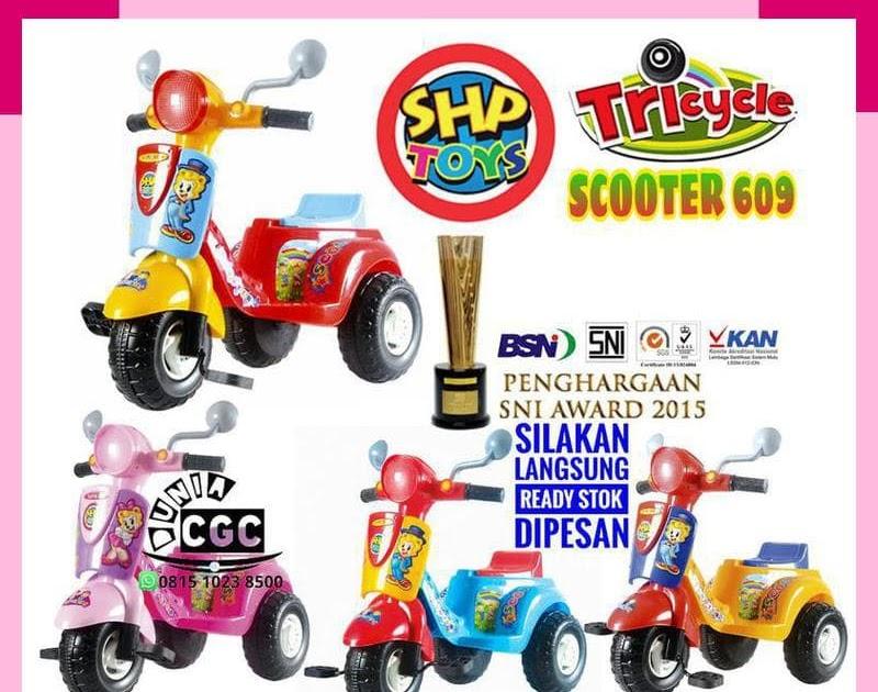 HEMAT SHP Scooter 609 Mainan Anak Sepeda Roda Tiga Dorong Musik Khusus Gojek b648a91ba0