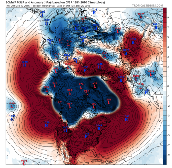 Extreme low pressure is forecast by the ECMWF model to cover the Arctic and north Atlantic in 7 days.