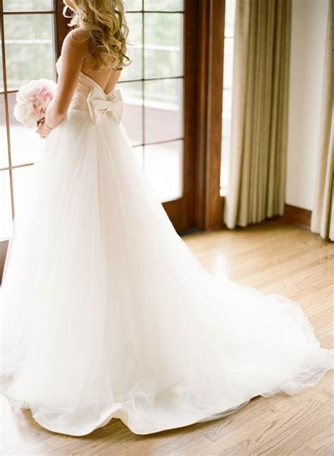 Tulle Wedding Dress With Bow on Back Sweetheart Strapless