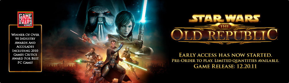 Star Wars™ The Old Republic™ Pre-Order for Early Game Access* Game Release: 12.20.11. Game Critics Award Winner. Winner of over 90 industry awards and accolades including 2010 Games Critics Award for Best PC Game!