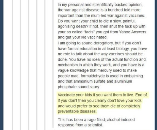 anti vaccination 4 Really smart guy takes down idiot spouting anti vaccination rhetoric. Awesome.