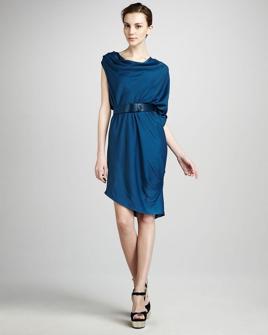 Halston Heritage Draped Cowl-Neck Dress