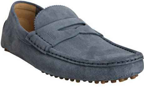 Gucci Light Blue Suede Penny Loafers in Blue for Men | Lyst