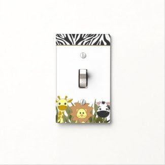 Jungle Animals Cute Baby Lion Giraffe and Zebra Switch Plate Cover