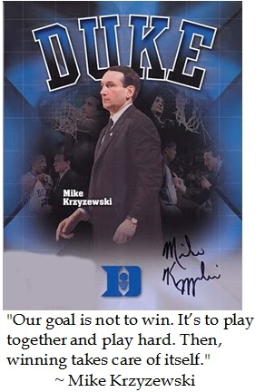 coach krzyzewskis winning philosophy essay Coach krzyzewski's winning philosophy essay 1544 words 7 pages there are two shades of blue that rule the basketball courts in and around durham, north carolina.