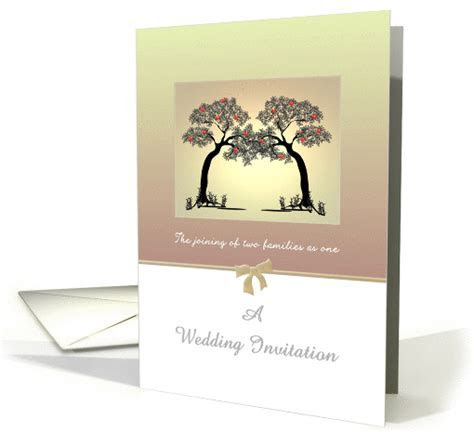Wedding invitation blended family, two trees intertwined card