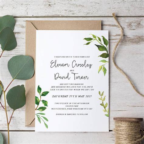minimalist leaves wedding invitation by emmy designs