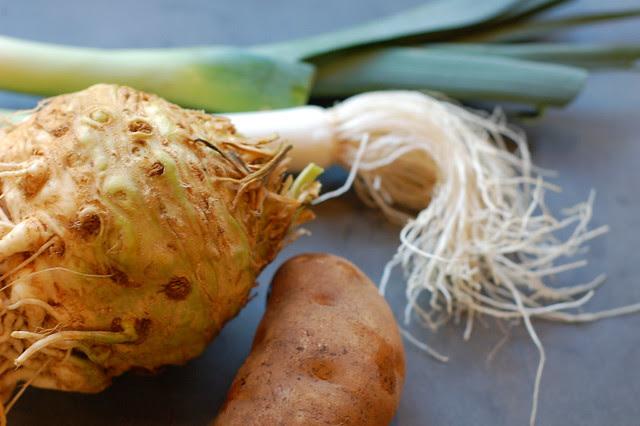 Ingredients for celeriac potato gratin by Eve Fox, Garden of Eating blog, copyright 2011