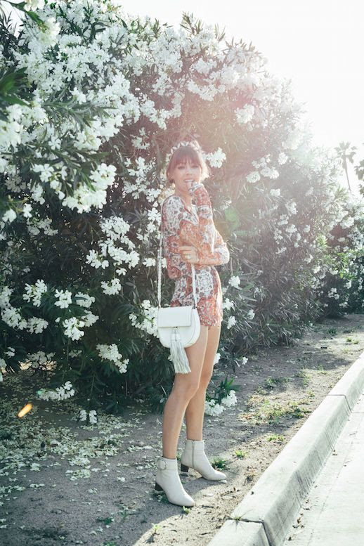 Le Fashion Blog Coachella Look Printed Romper Saddle Bag Off White Ankle Boots Via Margo And Me
