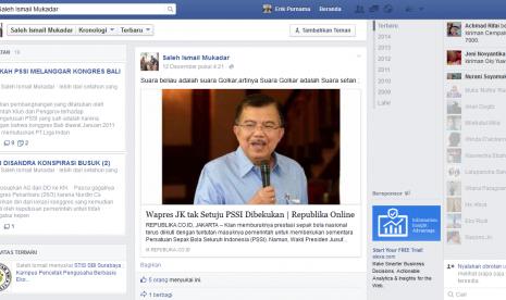 Status Facebook Saleh Ismail Mukadar yang dilaporkan ke Polda Jatim.