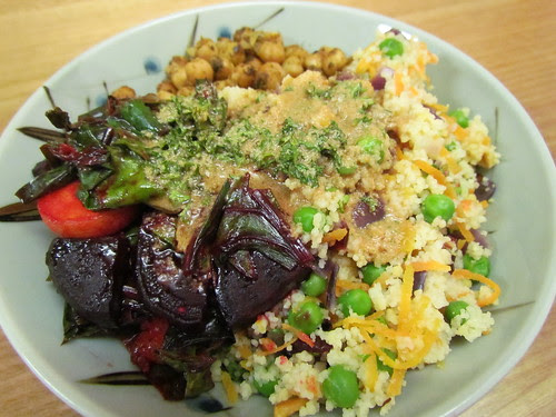 Couscous Pilaf; Beets with Green and Slivered Apricots; Moroccan Chickpeas