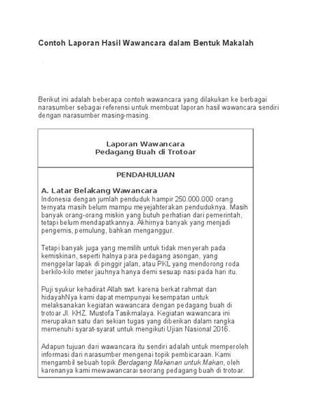 (DOC) Contoh Laporan Hasil Wawancara dalam Bentuk Makalah
