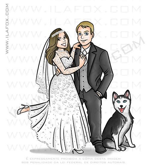 caricatura casal, caricatura casamento, caricatura noivos, caricatura casal e cachorro, husky siberiano, caricatura bonita by ila fox