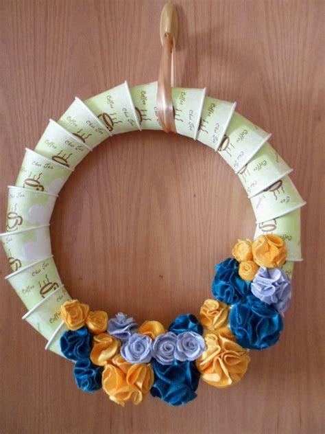 diy paper cups fabric flower christmas wreath diy