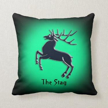 Black Rutting Stag on green spotlight effect Throw Pillows