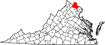 Map of Virginia highlighting Loudoun County