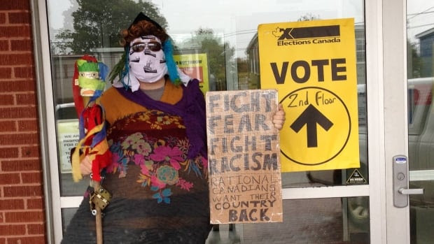 Jon Keefe voted in St. John's while dressed as a mummer. He did so to protest the hype over the niqab debate. He calls it a 'non-issue' and says he wanted to celebrate the right to vote with a covered face.