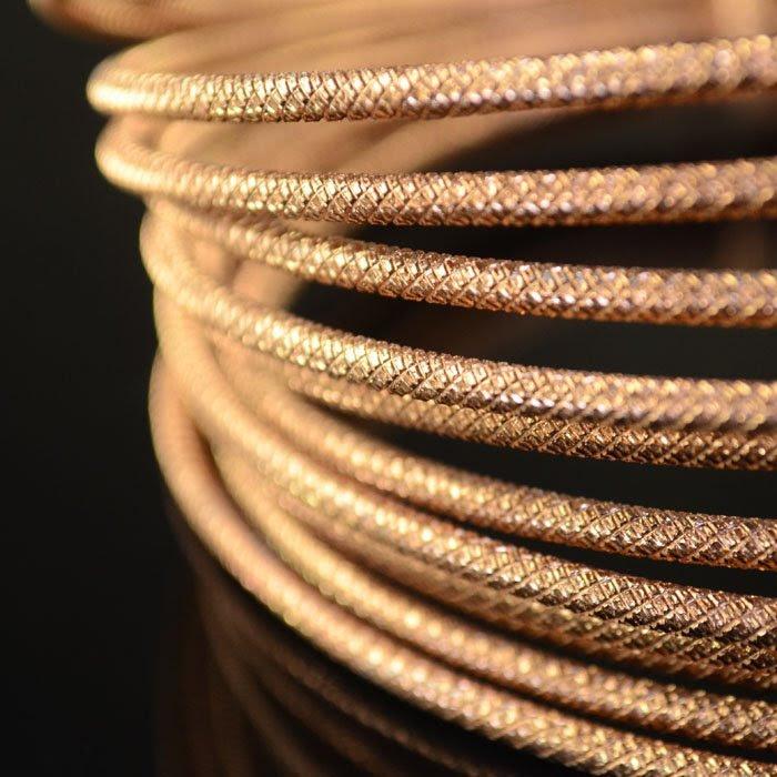 s35253 Fancy Aluminum Wire - 9 gauge Embossed Round Wire - Light Copper (5 meters)