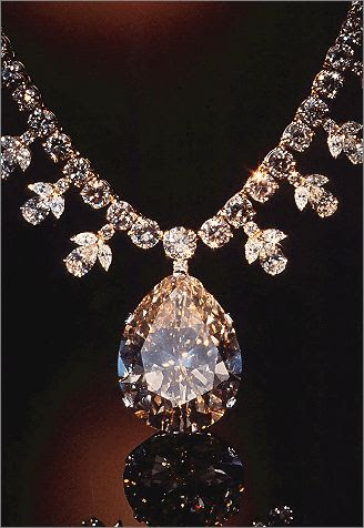 Victoria-Transvaal Diamond    The dazzling pendant of this diamond and gold necklace is the 68-carat, champagne-colored Victoria-Transvaal diamond, which was discovered in South Africa in 1951. From the gem and mineral collections of the Smithsonian's National Museum of Natural History.