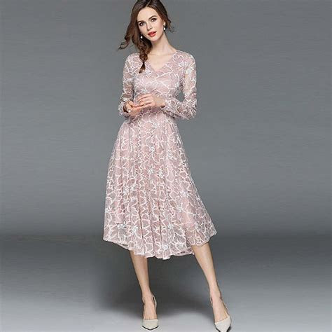 Pink Floral Lace Midi Elegant Wedding Guest Evening Long