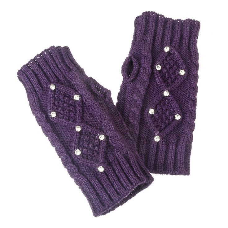 Knit w/Stone Accents Fingerless Gloves Purple | Fingerless Gloves, Knit Gloves | Purple Box Jewelry