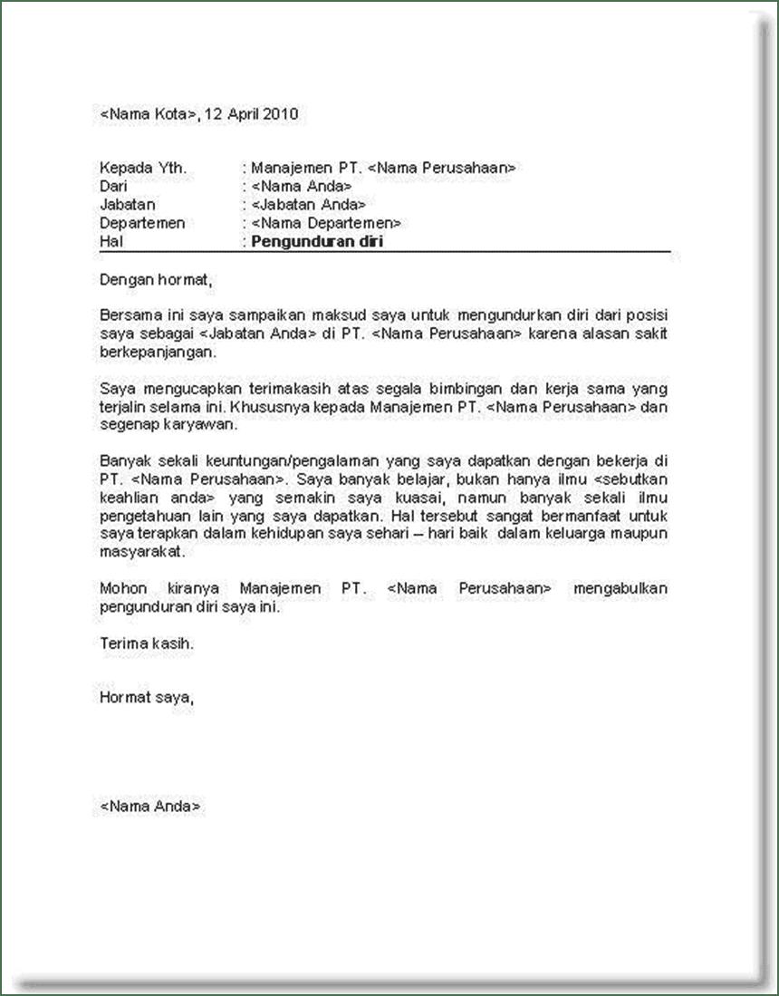 Contoh Surat Pengunduran Diri bagi yang Mau Resign Kerja