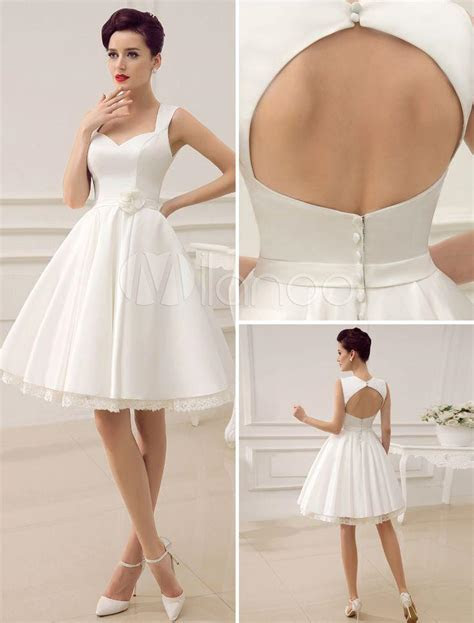 Beach Short Wedding Dresses White Sweetheart Satin 2015