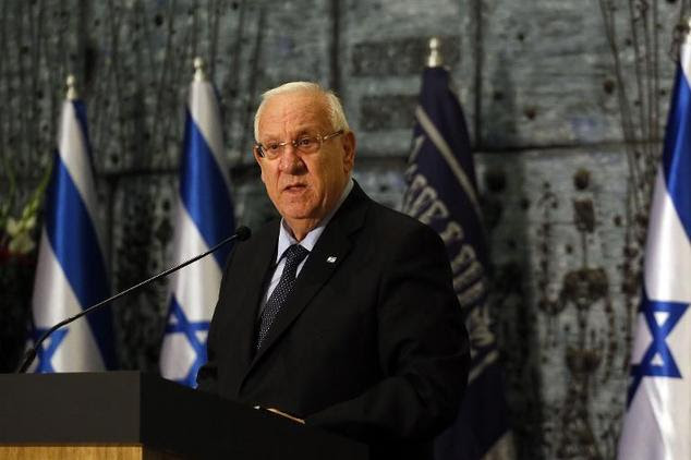 Israeli President Reuven Rivlin speaks during the first ceremony to mark the 'Day of Commemoration for Jewish Refugees from Arab countries and Iran' at the p...