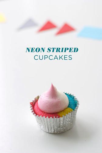 neon striped cupcakes tutorial